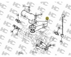 JCB Connector water outlet assembly R/H